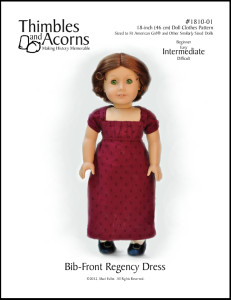 Want to make a Bib Front Regency Dress for your doll? Click Here to find the pattern.