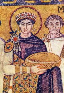 Emperor Justinian in his Tyrian Purple robe.