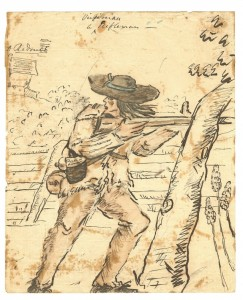 A watercolor image of a Virginia Rifleman during the Philadelphia Campaign